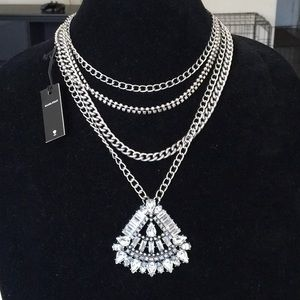 BaubleBar Layer Necklace with Crystal Pendant.